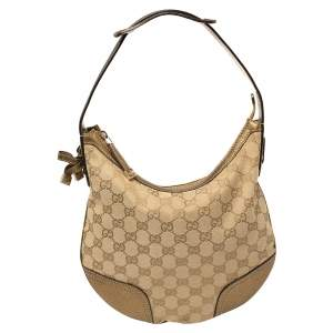 Gucci Beige/Gold GG Canvas and Leather Small Princy Hobo
