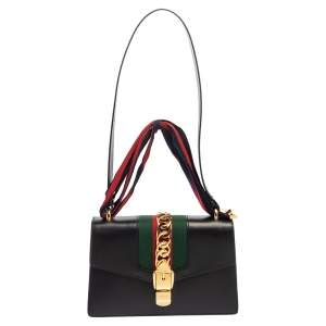 Gucci Black Leather Small Web Chain Sylvie Shoulder Bag