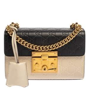 Gucci White/Black Guccissima Leather Small Padlock Shoulder Bag