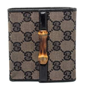 Gucci Black GG Canvas Bamboo Bar Compact Wallet