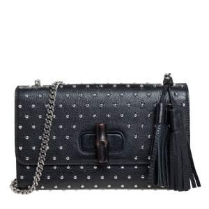 Gucci Black Studded Leather Miss Bamboo Shoulder Bag