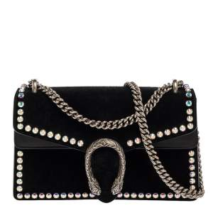 Gucci Black Suede Crystal Embellished Small Dionysus Shoulder Bag