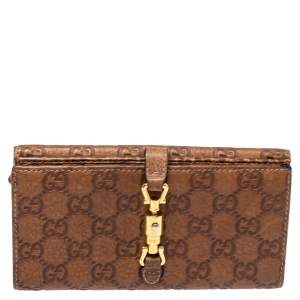 Gucci Brown Guccissima Leather Jackie Continental Wallet