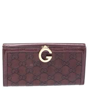 Gucci Metallic Burgundy Guccissima Leather G Continental Wallet