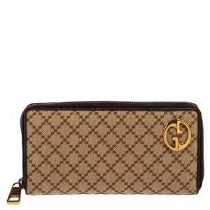Gucci Beige/Brown Diamante Canvas and Leather Zip Around Wallet