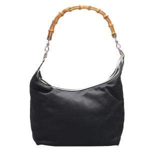 Gucci Black Nylon Bamboo Shoulder Bag