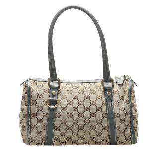 Gucci Brown/Green GG Canvas Satchel Bag