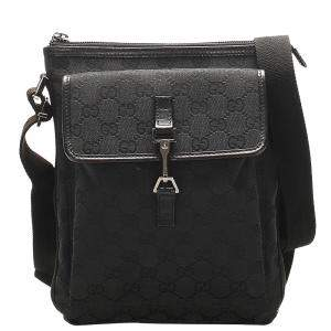 Gucci Black GG Canvas Crossbody Bag