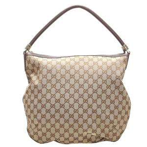 Gucci Beige/Brown GG Canvas Hobo Bag