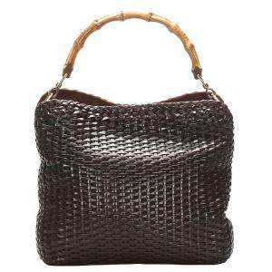 Gucci Brown Woven Leather Bamboo Handle Bag