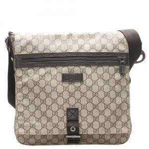 Gucci Beige/Brown GG Supreme Canvas Crossbody Bag