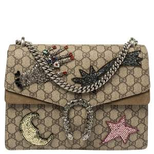 Gucci Beige/Brown GG Supreme Canvas and Suede Medium Dionysus Embellished Shoulder Bag