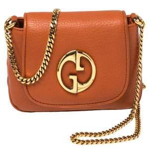 Gucci Burnt Orange Leather Small 1973 Shoulder Bag