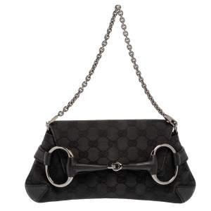 Gucci Black GG Canvas Horsebit Chain Clutch