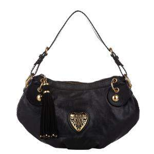 Gucci Black Leather Babouska Heart Shoulder Bag