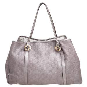 Gucci Metallic Pink Guccissima Leather Large GG Twins Tote