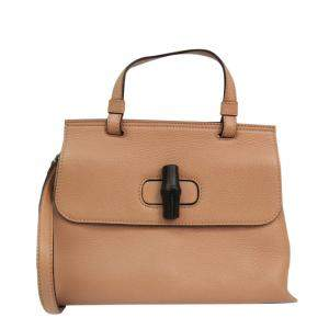 Gucci Beige Leather Bamboo Daily Top Handle Bag