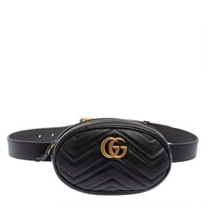 Gucci Black Matelasse Leather GG Marmont Belt Bag