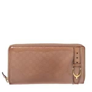 Gucci Beige Micro Guccissima Patent Leather Zip Around Wallet