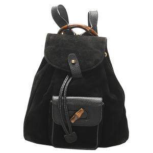 Gucci Black Leather/Suede Bamboo Mini Backpack