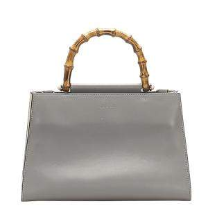 Gucci Grey Leather Bamboo Nymphaea Medium Top Handle Bag
