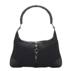 Gucci Black Canvas Jackie Bamboo Hobo Bag