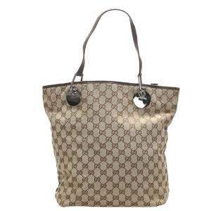 Gucci Brown/Tan GG Canvas Eclipse Tote Bag