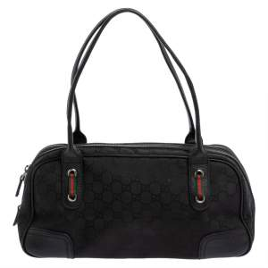 Gucci Black GG Canvas and Leather Princy Boston Bag