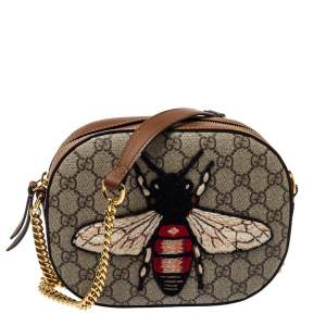 Gucci Brown/Beige Bee Embroidered GG Supreme Canvas and Leather Mini Chain Bag