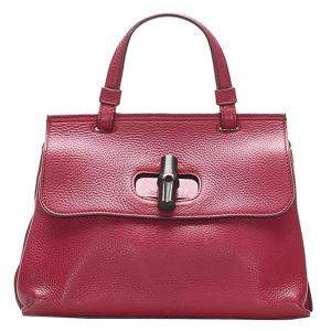 Gucci Red Leather Bamboo Daily Bag