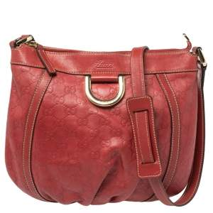 Gucci Red Guccissima Leather Abbey D-Ring Hobo
