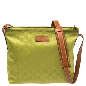Gucci Apple Green/Brown GG Nylon and Leather Zip Shoulder Bag
