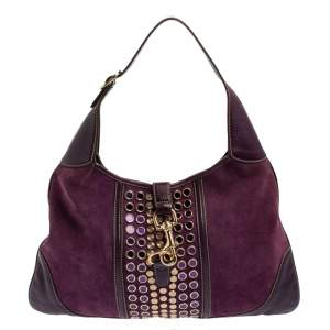 Gucci Purple Suede and Leather Embellished Jackie O Bouvier Hobo