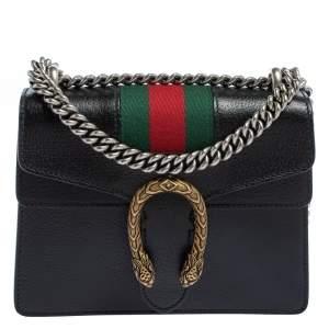 Gucci Black Leather Mini Web Dionysus Shoulder Bag