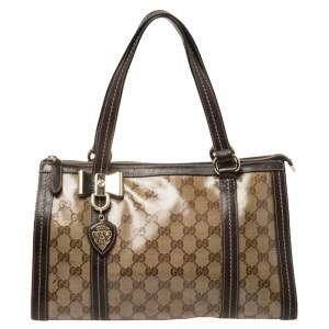Gucci Ebony/Beige GG Crystal Canvas and Leather Duchessa Tote
