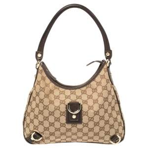 Gucci Beige/Brown GG Canvas and Leather Small Abbey D-Ring Hobo