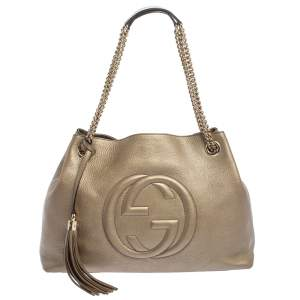 Gucci Metallic Gold Leather Medium Soho Tote