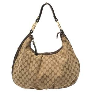 Gucci Beige/Brown GG Canvas and Leather Large GG Twins Hobo