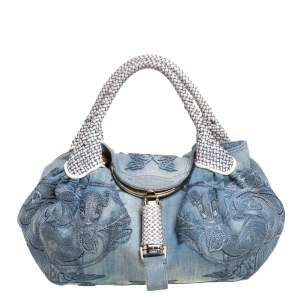 Fendi Light Blue Denim Embroidered Squirrel Limited Edition Spy Bag