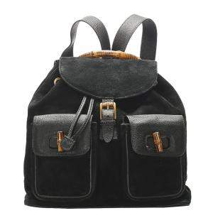 Gucci Black Suede Bamboo Drawstring Backpack