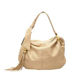 Gucci Beige Leather Bamboo Jungle Hobo Bag