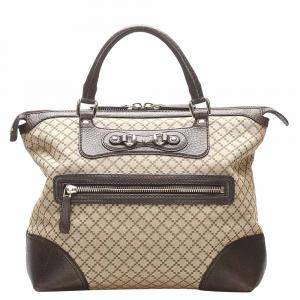 Gucci Brown Diamante Canvas Horsebit Catherine Tote Bag