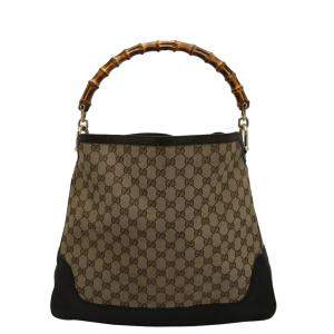 Gucci Beige GG Canvas Leather Peggy Bamboo Top Handle Bag