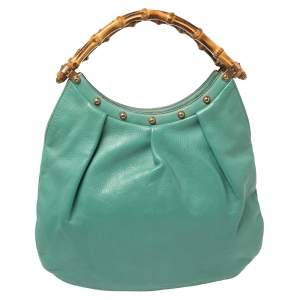 Gucci Green Leather Studded Bamboo Handle Hobo
