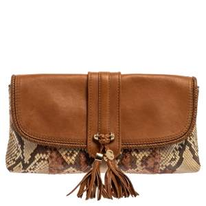 Gucci Tan Leather and Python Marrakech Clutch