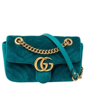 Gucci Teal Matelasse Velvet Mini GG Marmont Shoulder Bag