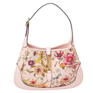 Gucci Baby Pink Floral Canvas and Leather Limited Edition Jackie 1961 Hobo