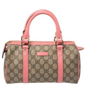 Gucci Beige/Pink GG Supreme Coated Canvas and Leather Joy Boston Bag