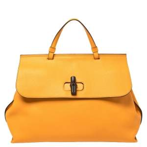 Gucci Orange Pebbled Leather Large Bamboo Daily Top Handle Bag