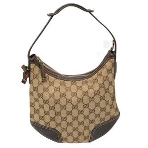 Gucci Beige/Ebony GG Canvas and Leather Small Princy Hobo